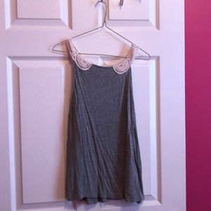 M H&M Gray Tank with Crochet Collar& Back Detail